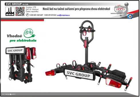 SVC 2+ VIP RACE prémiový a robustní  nosič dvou elektrokol pro použití na tažném zařízení. Od výrobce tažných zařízení SVC Group s.r.o.