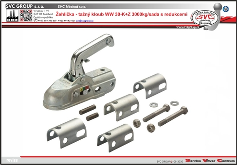 Žehlička-tažný kloub s redukcemi pro zatížení max. 3000 kg