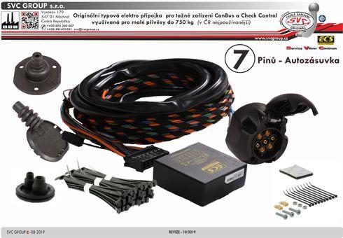 7 pólová elektro přípojka pro tažné zařízení originální ECS  VW-268-B1
