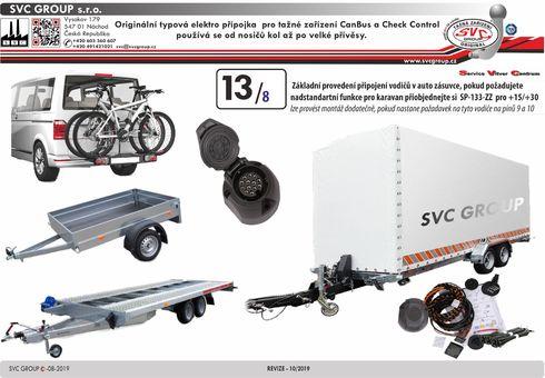 13 pólová originální typová elektro přípojka pro tažné zařízení SVC RN-071-DL