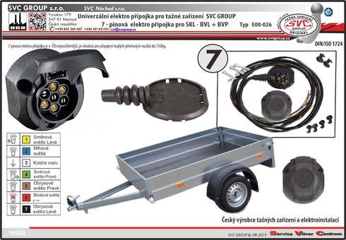 Univerzální elektropřípojka. 7 Pólová elektro přípojka SKL pro tažné tažné zařízení.