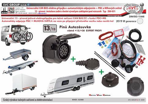 elektrika pro tažné zařízení 13 Pólový Can Bus/CC automatické vypínání PDC plně vybavená přípojka.