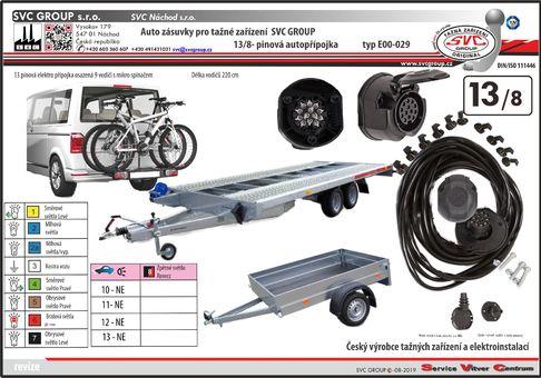 13 pólová elektroinstalace pro propojení tažného zařízení a přívěsu/nosiče kol.  Výrobce SVC GROUP