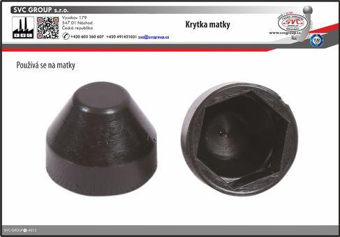 Plastová krytka na matičky o průměru 17 mm. Použitý kvalitní venkovní plast  Výrobce tažného zařízení SVC GROUP