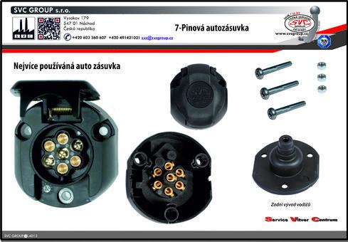Auto zásuvka pro tažné zařízení  7 pinů zadní vývod včetně spojovacího materiálu.  Výrobce tažných zařízení SVC GROUP