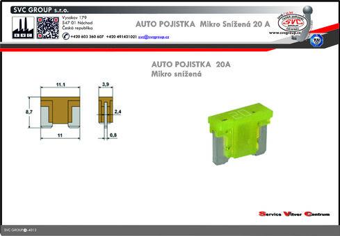 Pojistkový Bežová 20A mikro snížená   Dodavatel SVC GROUP výrobce tažných zařízení