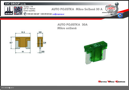 Pojistkový Bežová 30A mikro snížená   Dodavatel SVC GROUP výrobce tažných zařízení