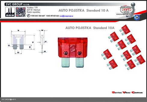 Pojistkový žlutá 10A standart  Dodavatel SVC GROUP výrobce tažných zařízení