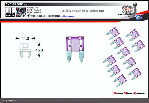 Pojistkový Modrá 10A MINI    Dodavatel SVC GROUP výrobce tažných zařízení