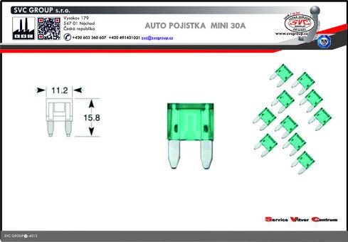 Pojistkový Modrá 30A MINI    Dodavatel SVC GROUP výrobce tažných zařízení