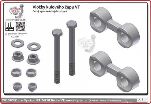 Sada dvou vložek pod kulový čep SV včetně šroubů a podložek pro tažné zařízení. Podrobné informace viz technické a obchodní informace v této kartě