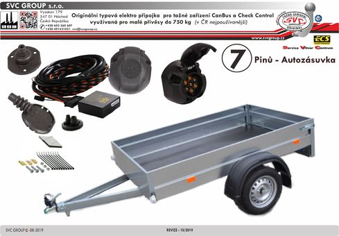 7 pólová elektro přípojka pro tažné zařízení originální  HY-073-BL