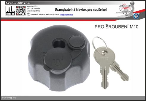 Uzamykatelná matice pro nosiče kol na tažné zařízení.