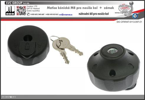 Vložka matice M8 pro nosič kol na tažné zařízení včetně zámku Výrobce tažných zařízení