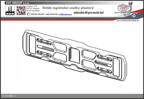 Držák registrační značky plastový pro nosič kol na tažné zařízení