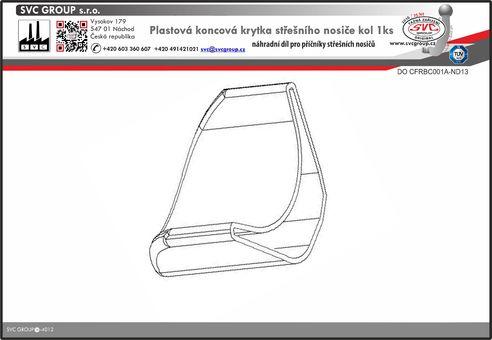 Koncovka nosiče kol na střechu vozu , plastová Český výrobce tažných zařízení SVC GROUP