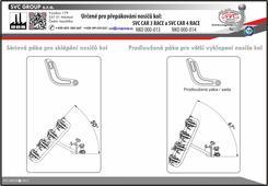 Prodlužující páka pro nosiče kol: NKO 000-013 a NKO 000-014 Technické parametry: Zajišťuje zvětšení úhlu sklápění nosiče z původních 50° na 67°