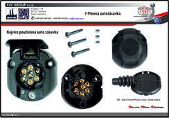 Auto zásuvka pro tažné zařízení  7 pinů včetně spojovacího materiálu.  Pro tažná zařízení s SKL zaklápění elektroinstalace pod nárazník - boční vývod Výrobce tažných zařízení SVC GROUP