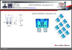 Pojistkový žlutá 15A standart  Dodavatel SVC GROUP výrobce tažných zařízení