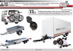 13 pólová originální typová elektro přípojka pro tažné zařízení SVC DA-019-DL