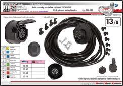 Univerzální elektropřípojka 13-pólová elektroinstalace pro propojení tažného zařízení a přívěsu/nosiče kol.  Výrobce SVC GROUP