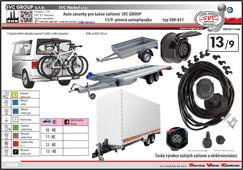 13/9 univerzální elektro instalace doporučená pro velké přívěsy a  nosiče kol.  Výrobce SVC GROUP