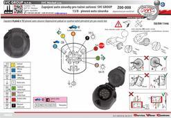 Auto zásuvka pro tažné zařízení zapojení 13/8 pólů.  doporučeno pro nosiče kol.  svcgroup