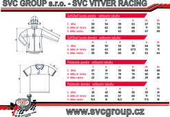 Tabulka velikostí-SVC Vitver racing kolekce-tažné zařízení