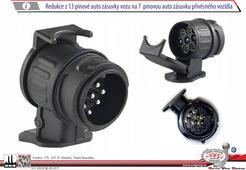 Redukce/Adaptér pro tažná zařízení z 13 pólové Auto zásuvky na 7 pólovou zástrčku přívěsu.