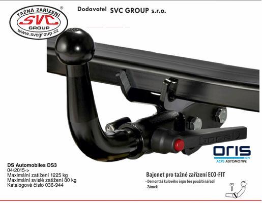DS Automobiles DS3 04/2015-> Maximální zatížení 1225 kg Maximální svislé zatížení 80 kg Katalogové číslo 036-944