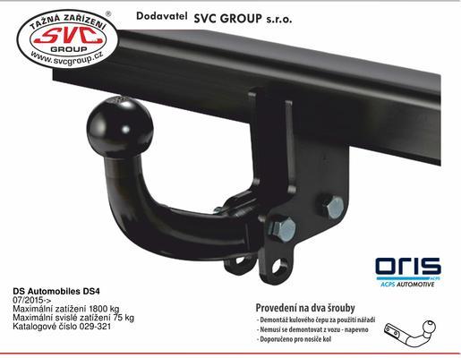 DS Automobiles DS4 07/2015-> Maximální zatížení 1800 kg Maximální svislé zatížení 75 kg Katalogové číslo 029-321