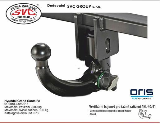 Hyundai Grand Santa Fe 01/ 2013 -> Maximální zatížení 2500 kg Maximální svislé zatížení 100 kg Katalogové číslo 051-273