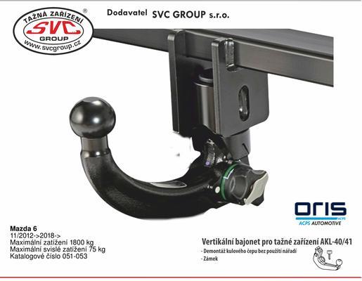 Mazda 6 11/ 2012 -> Maximální zatížení 1800 kg Maximální svislé zatížení 75 kg Katalogové číslo 051-053