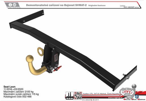Seat Leon 11/2016->03/2020 Maximální zatížení 2100 kg Maximální svislé zatížení 115 kg Katalogové číslo 002-488