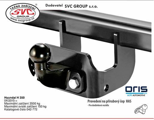 Hyundai H 350 04/2015-> Maximální zatížení 3500 kg Maximální svislé zatížení 150 kg Katalogové číslo 042-772