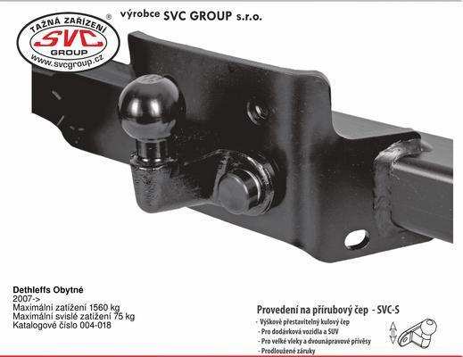 Dethleffs Obytné 2007-> Maximální zatížení 1560 kg Maximální svislé zatížení 75 kg Katalogové číslo 004-018