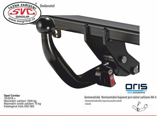 Opel Combo 10/2018-> Maximální zatížení 1500 kg Maximální svislé zatížení 75 kg Katalogové číslo 052-383