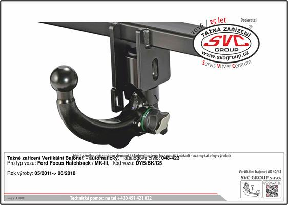 Ford Focus tažné zařízení vertikální Bajonet IV Rok výroby: 05/ 2011 ->