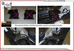 Kia Sportage tažné zařízení podpora montáže.  Původní držáky se demontují a nahradí novými.   Český výrobce Tažných zařízení