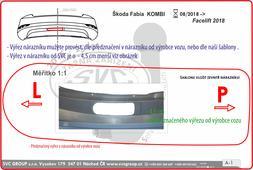 Výřez nárazníku není běžně vidět, je menší než požaduje a předznačuje v nárazníku výrobce vozu Škoda Fabia combi