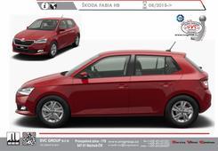 Škoda Fabia HB 5 dveřová verze Typ III Facelift modelu. Jiné světlomety přední maska  a zadní nárazník vozu z odrazkami. Rok výroby: 08/2018->  Výrobce tažných zařízení SVC GROUP